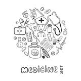 Hand drawn medicine doodle icons set. Sketches healthcare and medical Stock Photography