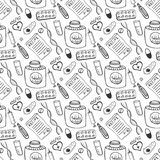 Hand drawn medicine seamless pattern. Doddle sketch healthcare and medical background Royalty Free Stock Image