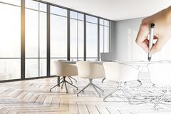 Style and drawing concept. Hand drawn meeting room interior with city view and furniture. Style and drawing concept stock image