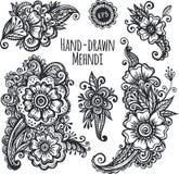 Hand-drawn mehendi flowers vector set Stock Image