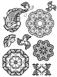 Hand-drawn mehendi ornamental elements. And mandala collection. Indian henna tattoo set. Oriental style decorative design templates. EPS 10 illustration Royalty Free Stock Images