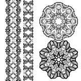 Hand-drawn mehendi ornamental elements and mandala. Collection. Indian henna tattoo set. Oriental style decorative design templates. EPS 10 vector illustration Stock Image