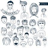 Hand-drawn mensen overbevolken krabbelinzameling van avatars 27 verschillende grappige gezichten De vectorreeks van het beeldverh Royalty-vrije Stock Afbeeldingen