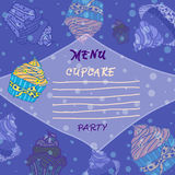 Hand drawn menu  with cupcakes,  Best for party cafe or restaurant Royalty Free Stock Photos