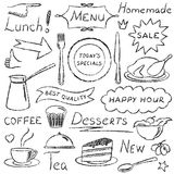 Hand drawn menu elements set Stock Photo