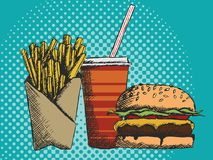 Hand drawn menu of junk food in fast food with fries burger and drink. Vector illustration of a hand drawn menu of junk food in fast food with fries burger and Stock Photography