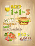 Hand drawn menu list with beer, burger and grilled salmon fish Stock Photos