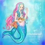 Hand drawn mermaid holding a gold fish, on watercolor background. Vector illustration royalty free illustration