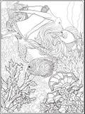Hand drawn mermaid swinging on rope in underwater world.  Royalty Free Stock Photos