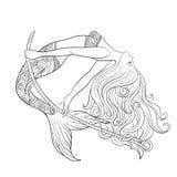Hand drawn mermaid swinging on rope in underwater world. Royalty Free Stock Image