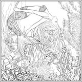 Hand drawn mermaid swinging on rope in underwater world.  Stock Photography
