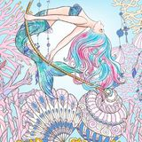 Hand drawn mermaid swinging on rope in underwater world. Linen c Royalty Free Stock Images