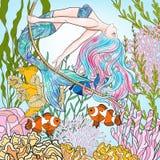 Hand drawn mermaid swinging on rope in underwater world.  Royalty Free Stock Images