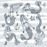 Hand drawn mermaids Stock Photo