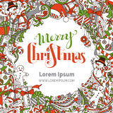 Hand-drawn Merry Christmas background. Royalty Free Stock Photo