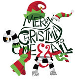 Hand drawn Merry Christmas with cartoon holiday hats and scarves.  Royalty Free Stock Photography
