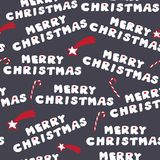 Merry christmas cookies. Seamless pattern. Vector illustration with stars and christmas candies on dark grey background Stock Photography