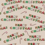 Merry christmas cookies set with candies on brown background , vector illustration, seamless pattern Stock Image