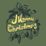 Hand Drawn Merry Christmas Decoration Of Royalty Free Stock Image