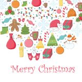 Christmas and New Year greeting card with cute holiday things Stock Photography