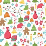 Hand drawn Merry Christmas and Happy New Year doodle seamless Stock Photos