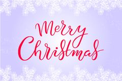 Hand drawn Merry Christmas typography lettering poster royalty free illustration