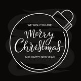 Hand drawn Merry Christmas typography lettering poster stock illustration