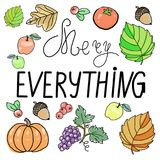 Hand drawn Merry Everything typography poster.  Royalty Free Stock Photo