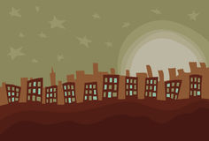 Hand drawn messy city. Foreground shapes, moon and stars, front buildings, and back buildings are all on separate layers. Front buildings are separate from stock illustration