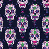 Hand drawn Mexican Day of The Dead seamless pattern. Vector colorful sugar skull. Stock Images
