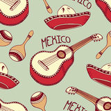 Hand drawn mexican seamless pattern with sombrero, guitar, maracas Royalty Free Stock Photos