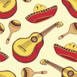 Hand drawn mexican seamless pattern in vector Stock Images