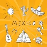 Hand drawn mexico symbol stickers set stock illustration