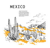 Hand drawn Mexico traveling landscape sketch. Nature drawnig. Touristic sight seeing. Print, poster, leaflet design, book, article illustration. Memory Stock Photos