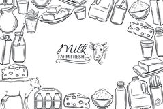 Hand drawn milk products Royalty Free Stock Photography