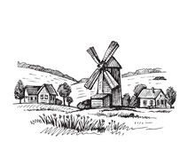 Free Hand Drawn Mill Royalty Free Stock Photos - 82864578