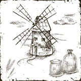Hand drawn mill, bags with flour Royalty Free Stock Image
