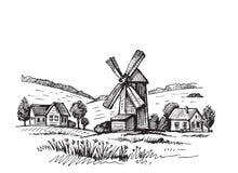 Hand drawn mill Royalty Free Stock Photos