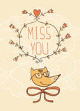 Hand drawn miss you card. Vector illustration. Valentine's Day card Stock Photos