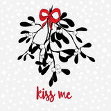 Hand drawn mistletoe with a red bow. Light background with small snowflakes. Kiss me quote. Vector illustration of mistletoe with bow and snowflakes royalty free illustration