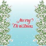 Hand drawn mistletoe. Vector Christmas plant background. Romantic Christmas illustration. Greeting card design. Vector mistletoe. Winter template Vector Illustration