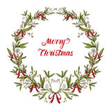 Hand drawn mistletoe wreath. Christmas wreath made of mistletoe and red ribbons on white background, winter door decoration. Greeting card template, wreath and Royalty Free Stock Photo