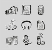 Hand drawn mobile devices vector black icon set Royalty Free Stock Images