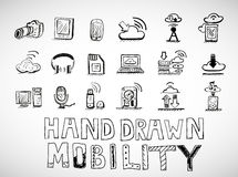 Hand drawn mobility icons doodles Royalty Free Stock Image