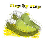 Hand drawn moccasin shoes with watercolor effect, ink, art and blot object. Step by step. Green spring. Stock Images