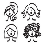 Hand drawn model woman vector icon illustration Royalty Free Stock Photos