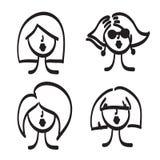 Hand drawn model woman vector icon illustration Royalty Free Stock Photo
