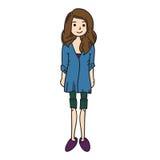 Hand drawn model woman vector icon illustration Stock Photography