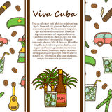 Hand drawn moderm cuban culture travel  concept Royalty Free Stock Photos