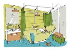 Hand drawn modern bathroom interior design. Vector colorful sketch illustration. Stock Photography